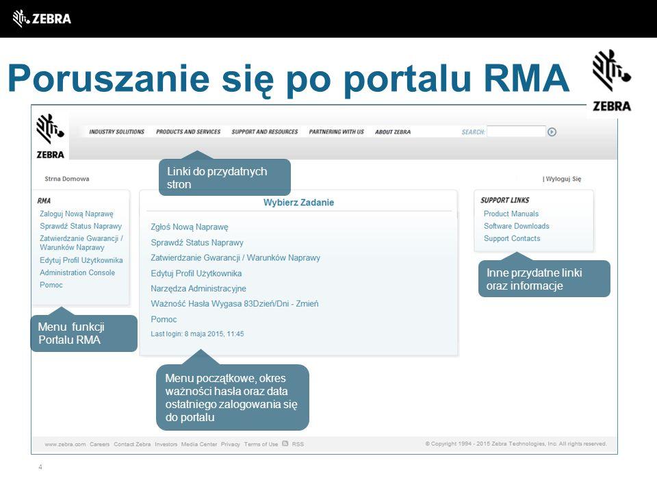 Poruszanie się po portalu RMA