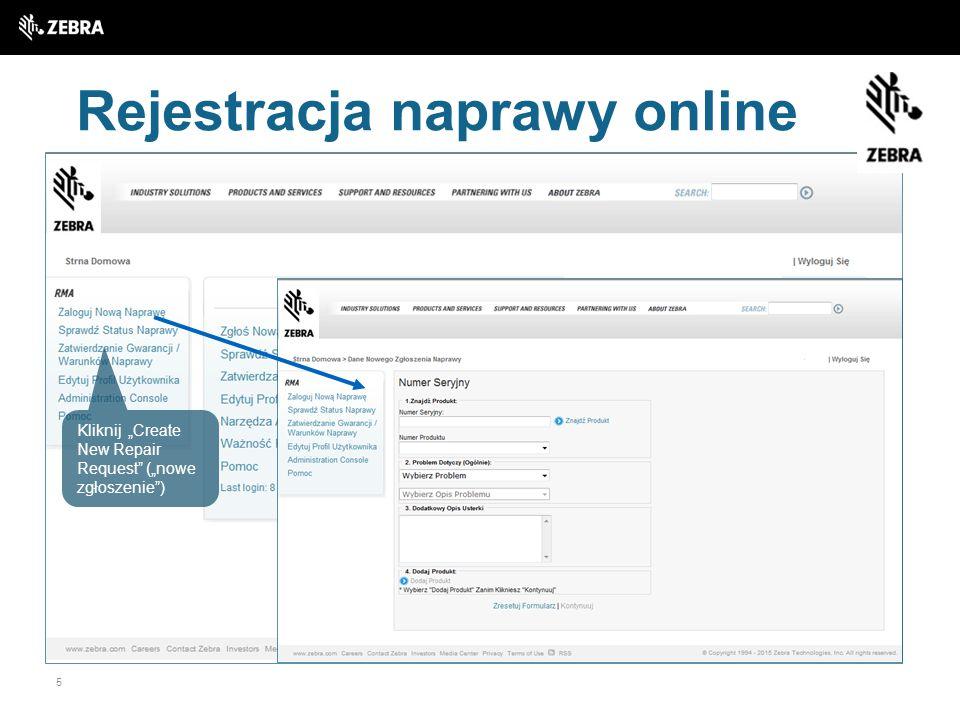 Rejestracja naprawy online