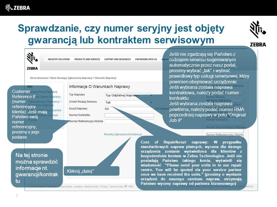 Sprawdzanie, czy numer seryjny jest objęty gwarancją lub kontraktem serwisowym