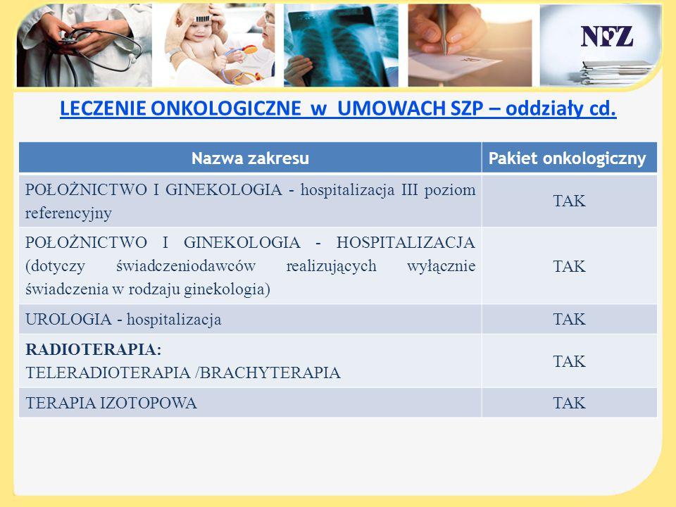 LECZENIE ONKOLOGICZNE w UMOWACH SZP – oddziały cd.