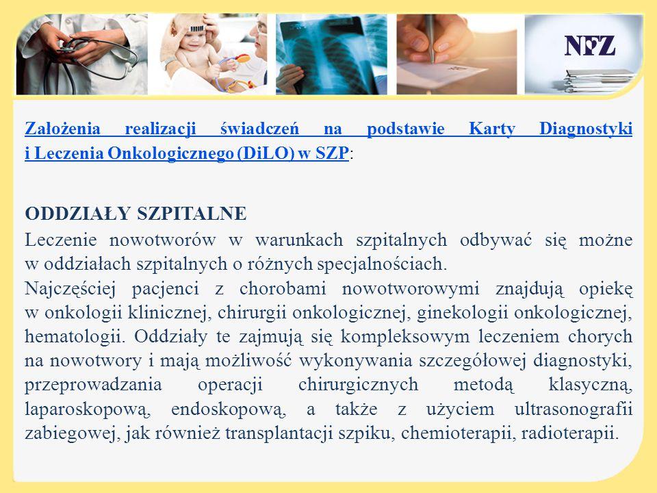 Założenia realizacji świadczeń na podstawie Karty Diagnostyki i Leczenia Onkologicznego (DiLO) w SZP: