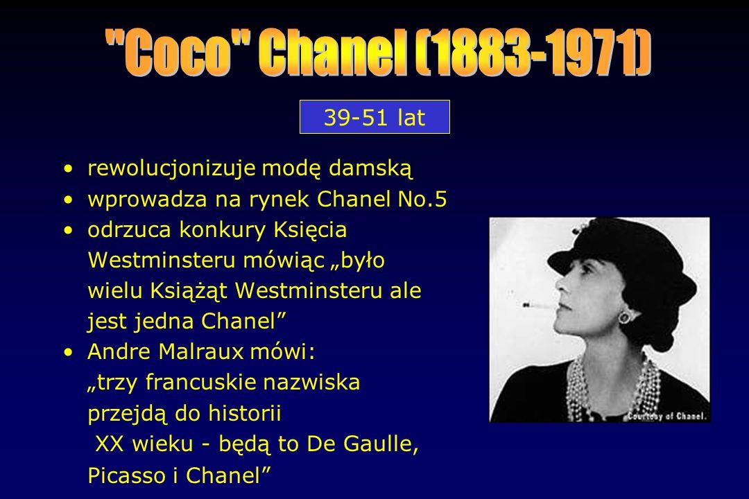 39-51 lat rewolucjonizuje modę damską wprowadza na rynek Chanel No.5