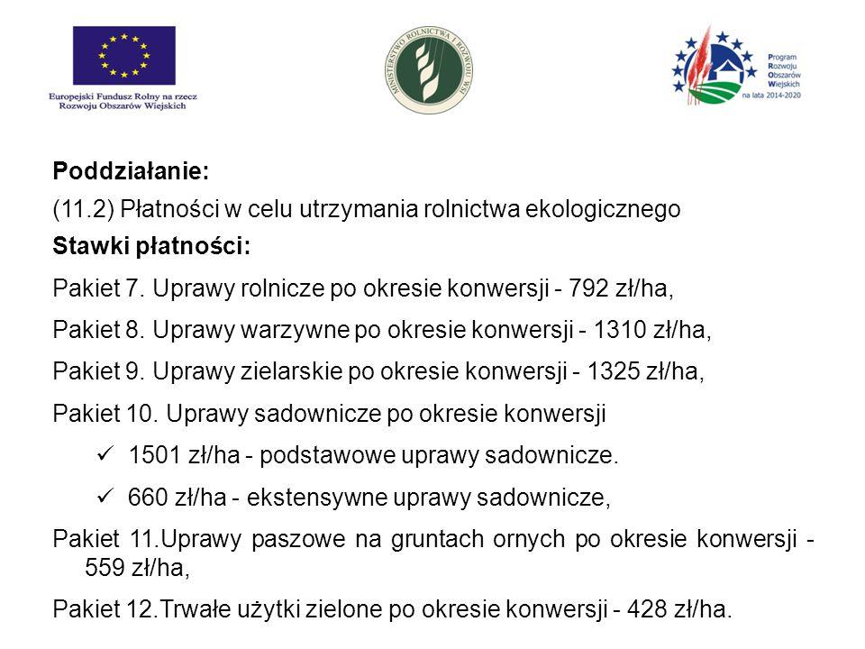 Poddziałanie: (11.2) Płatności w celu utrzymania rolnictwa ekologicznego. Stawki płatności: