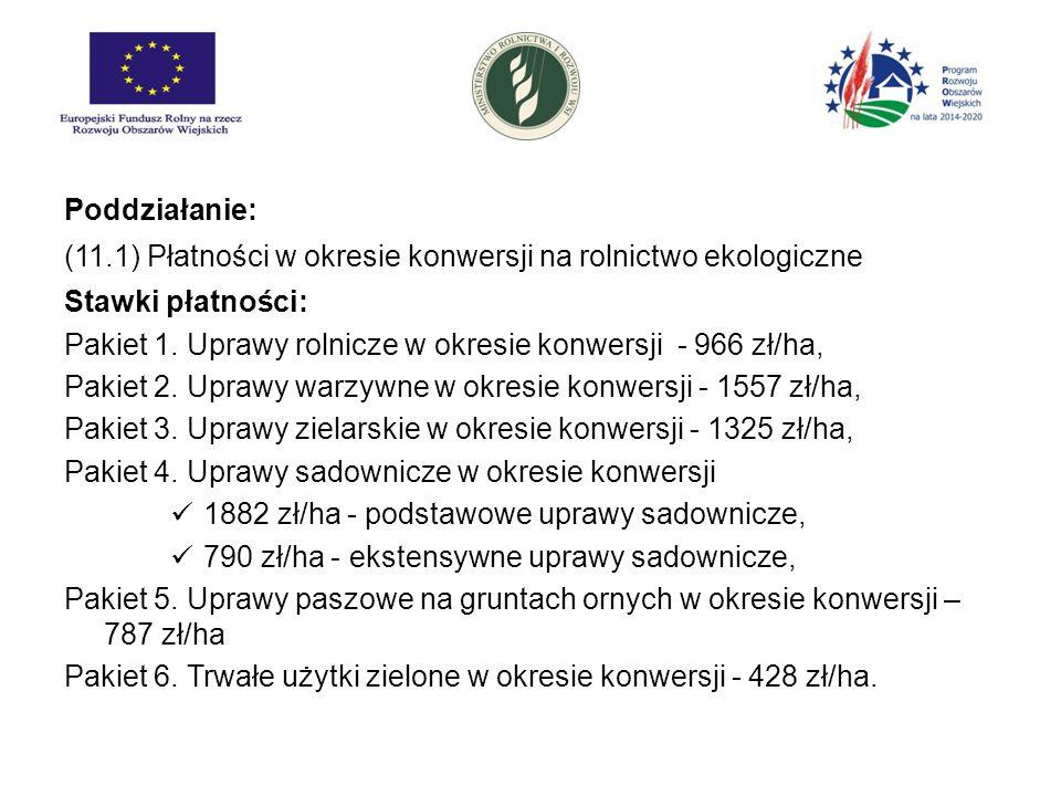 Poddziałanie: (11.1) Płatności w okresie konwersji na rolnictwo ekologiczne. Stawki płatności: