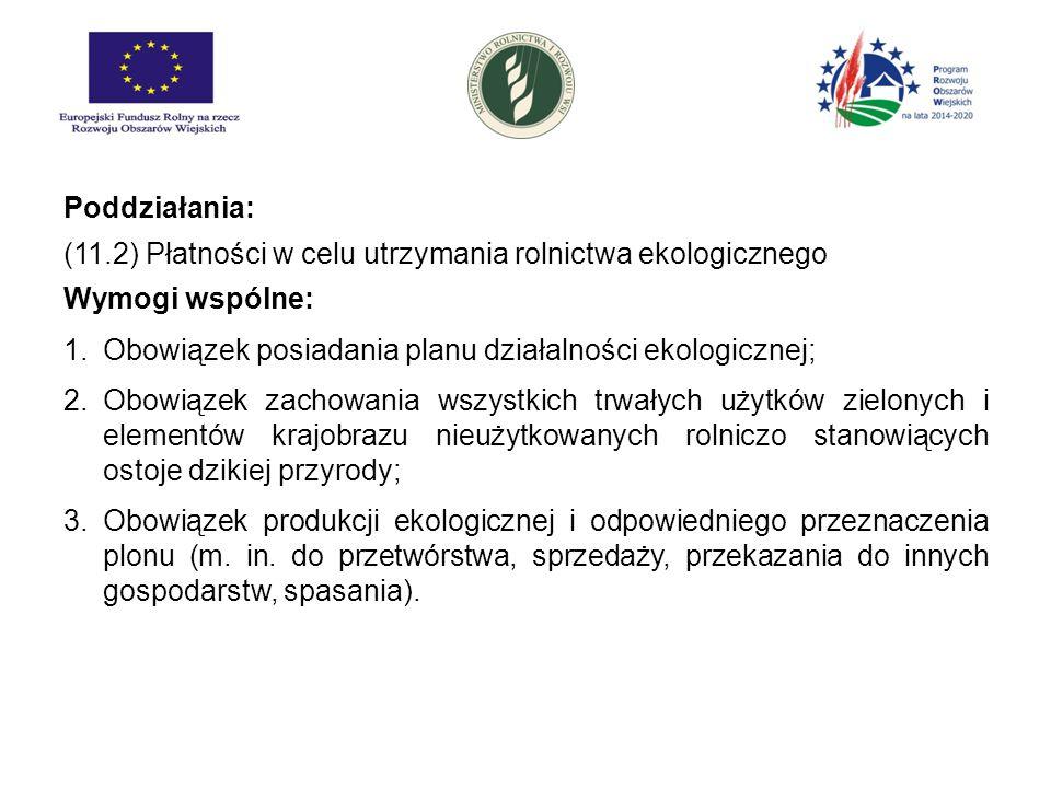 Poddziałania: (11.2) Płatności w celu utrzymania rolnictwa ekologicznego. Wymogi wspólne: Obowiązek posiadania planu działalności ekologicznej;