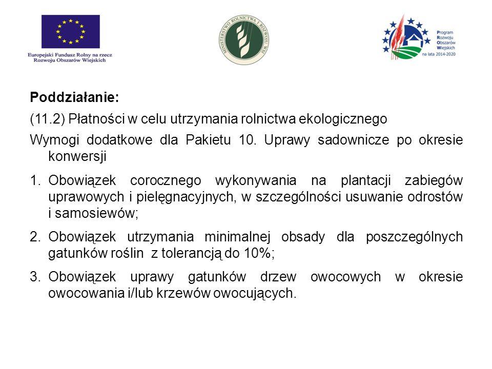 Poddziałanie: (11.2) Płatności w celu utrzymania rolnictwa ekologicznego. Wymogi dodatkowe dla Pakietu 10. Uprawy sadownicze po okresie konwersji.