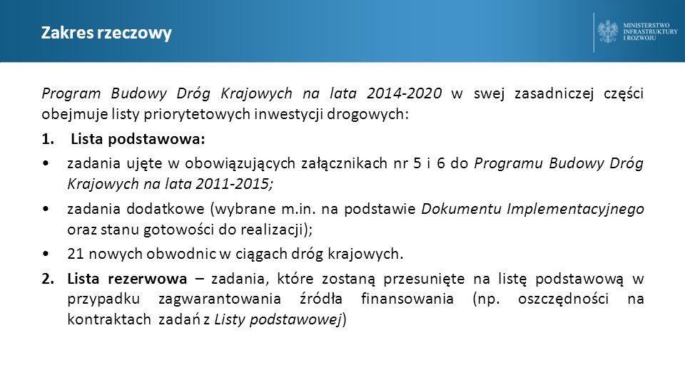 Zakres rzeczowy Program Budowy Dróg Krajowych na lata 2014-2020 w swej zasadniczej części obejmuje listy priorytetowych inwestycji drogowych: