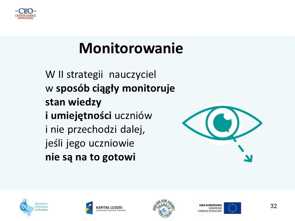 Monitorowanie W II strategii nauczyciel w sposób ciągły monitoruje stan wiedzy i umiejętności uczniów.