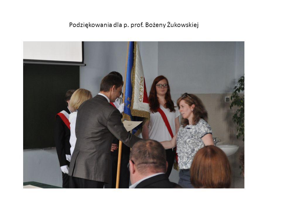 Podziękowania dla p. prof. Bożeny Żukowskiej
