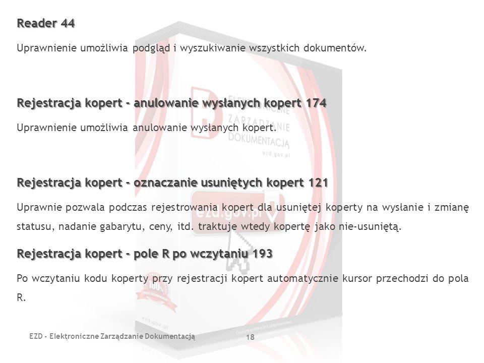 Rejestracja kopert - anulowanie wysłanych kopert 174