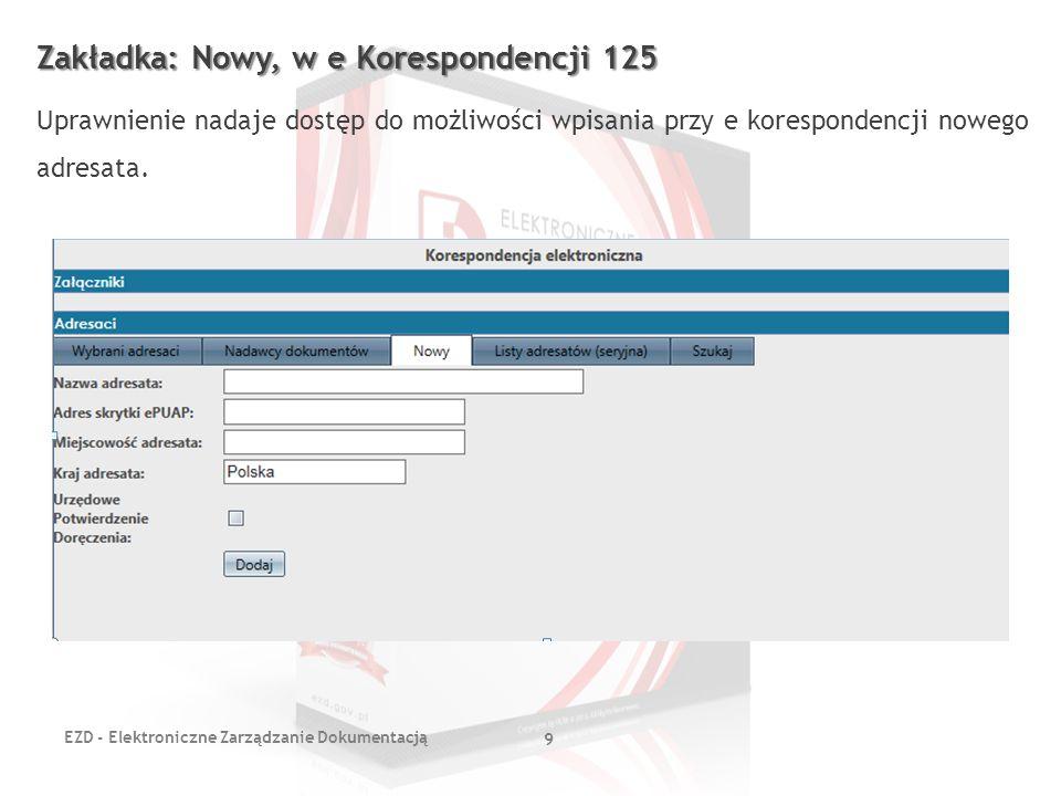 Zakładka: Nowy, w e Korespondencji 125