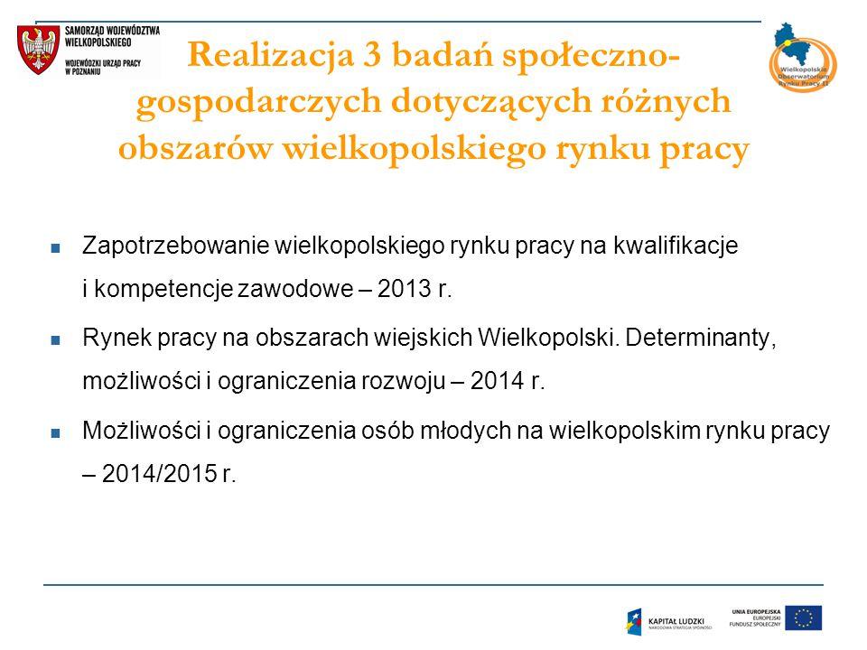 Realizacja 3 badań społeczno-gospodarczych dotyczących różnych obszarów wielkopolskiego rynku pracy