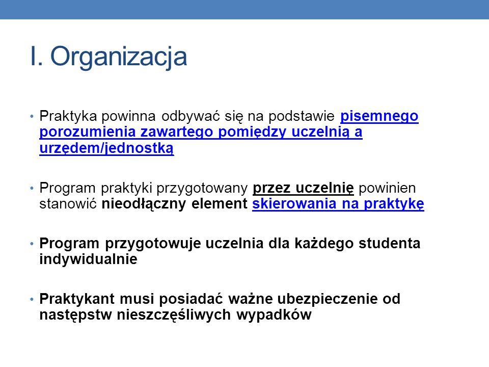 I. Organizacja Praktyka powinna odbywać się na podstawie pisemnego porozumienia zawartego pomiędzy uczelnią a urzędem/jednostką.