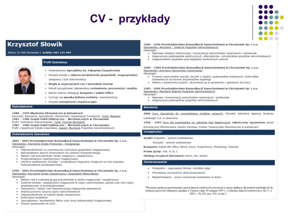 CV - przykłady