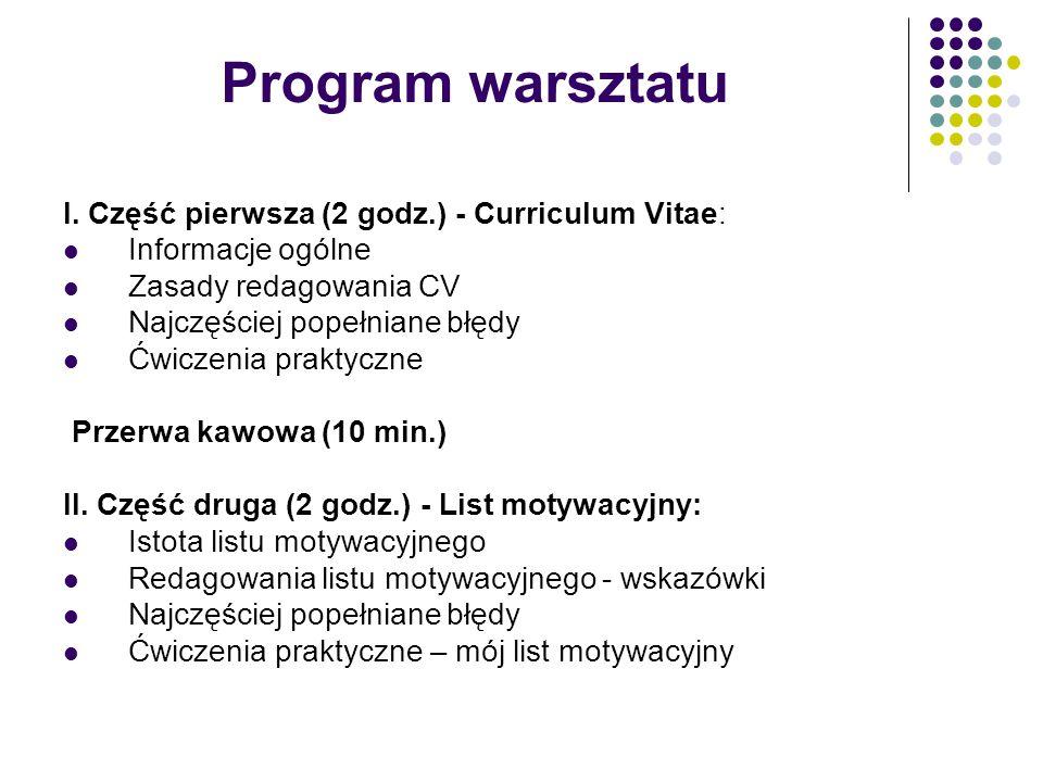 Program warsztatu I. Część pierwsza (2 godz.) - Curriculum Vitae: