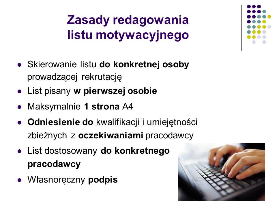Zasady redagowania listu motywacyjnego