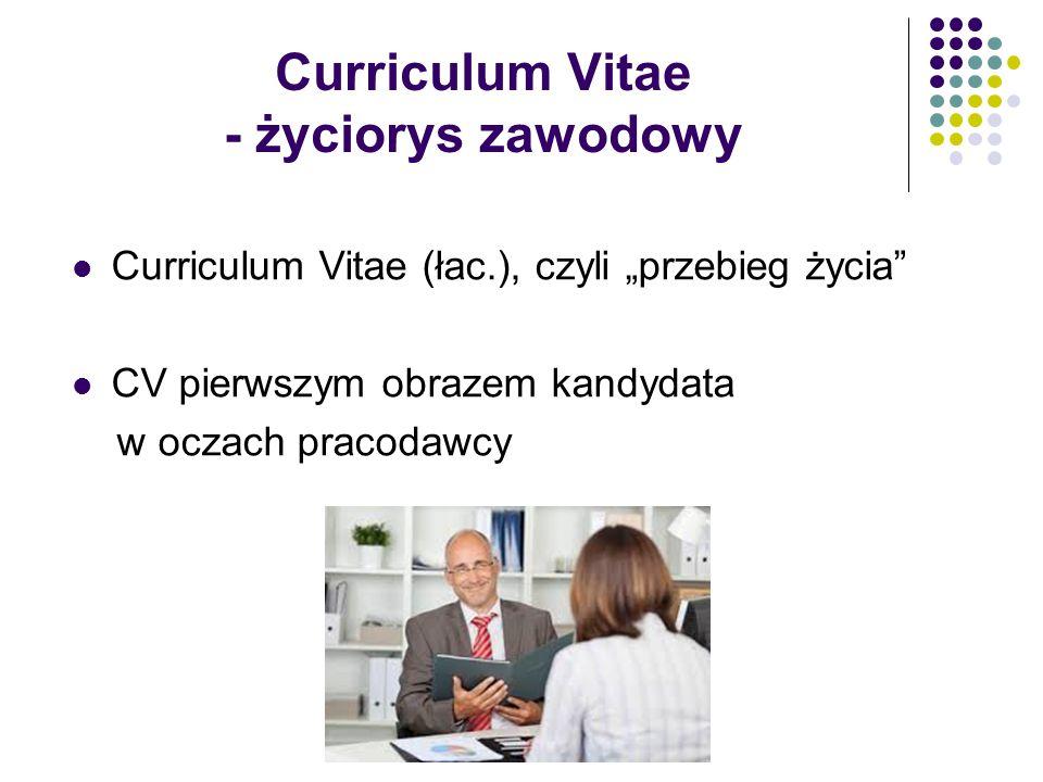 Curriculum Vitae - życiorys zawodowy