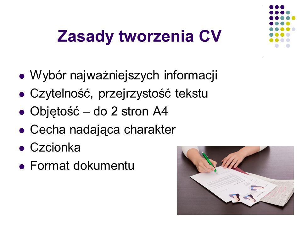 Zasady tworzenia CV Wybór najważniejszych informacji