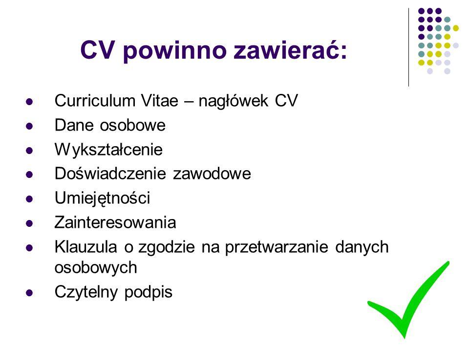 CV powinno zawierać: Curriculum Vitae – nagłówek CV Dane osobowe