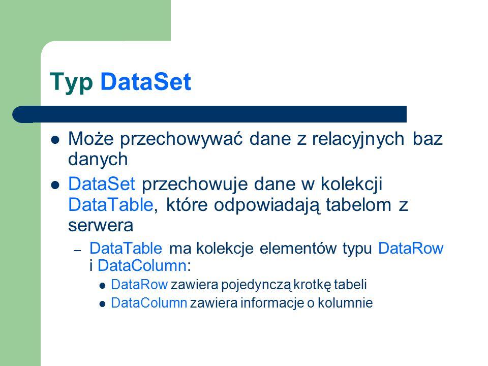 Typ DataSet Może przechowywać dane z relacyjnych baz danych