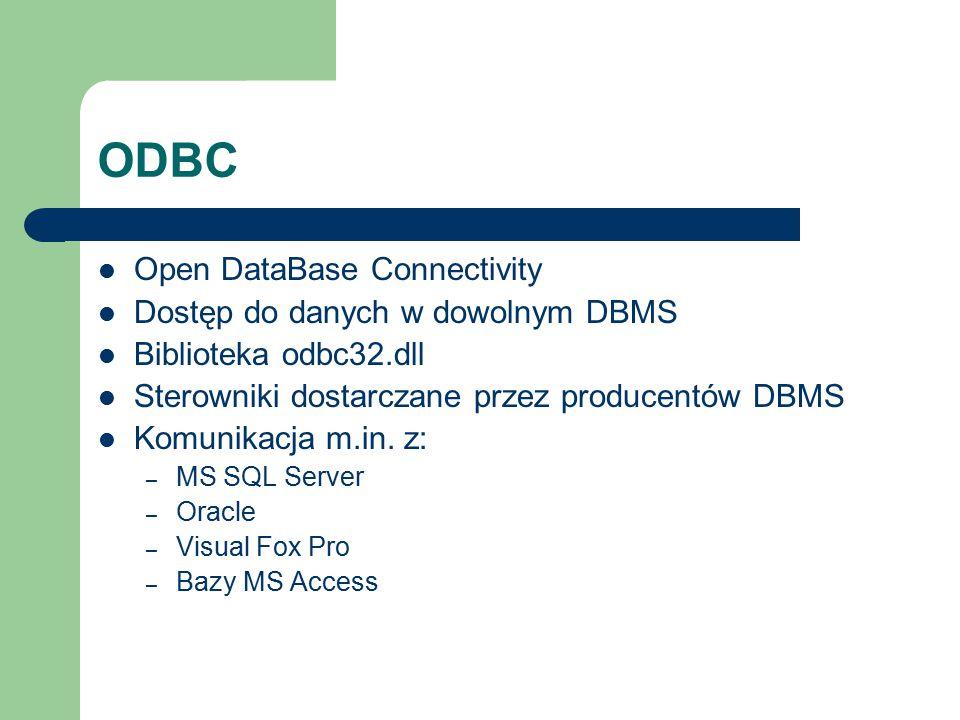ODBC Open DataBase Connectivity Dostęp do danych w dowolnym DBMS