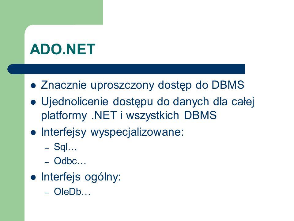 ADO.NET Znacznie uproszczony dostęp do DBMS