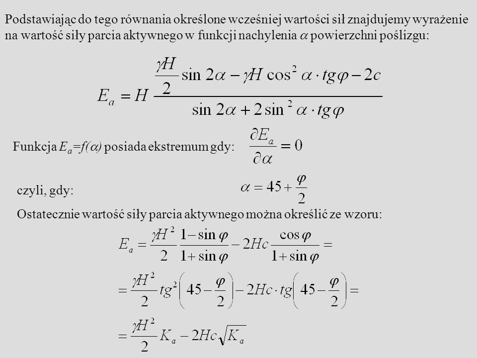 Podstawiając do tego równania określone wcześniej wartości sił znajdujemy wyrażenie