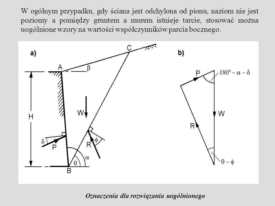 W ogólnym przypadku, gdy ściana jest odchylona od pionu, naziom nie jest poziomy a pomiędzy gruntem a murem istnieje tarcie, stosować można uogólnione wzory na wartości współczynników parcia bocznego.