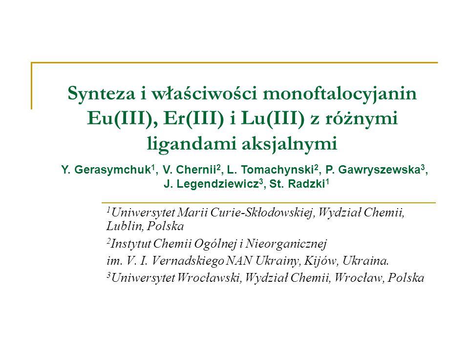 Synteza i właściwości monoftalocyjanin Eu(III), Er(III) i Lu(III) z różnymi ligandami aksjalnymi