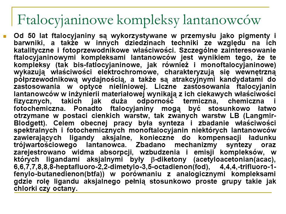 Ftalocyjaninowe kompleksy lantanowców