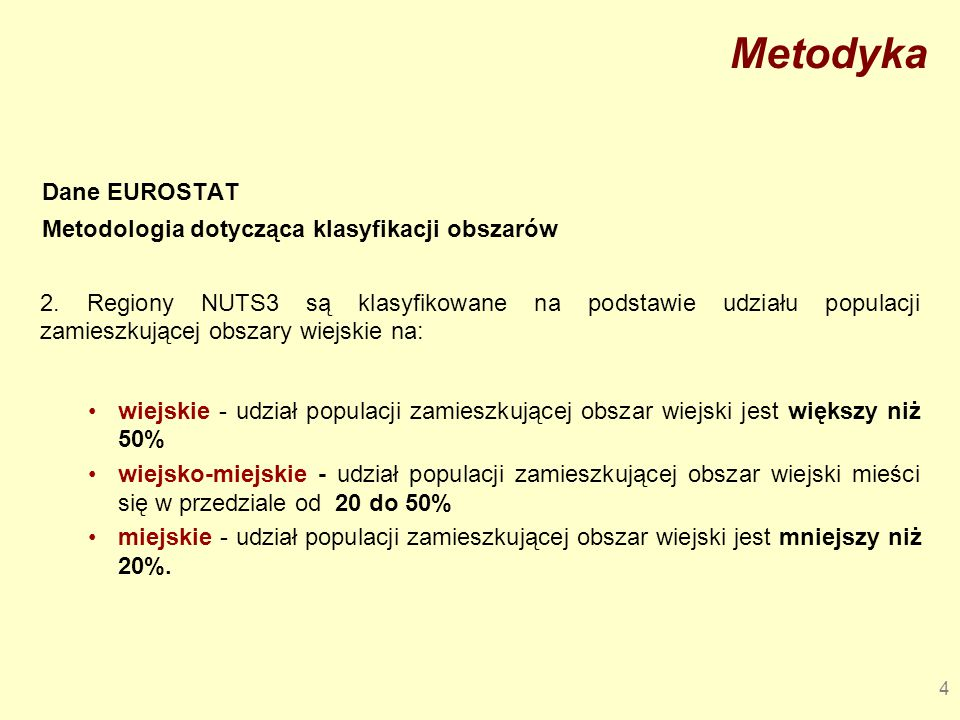 Metodyka Dane EUROSTAT Metodologia dotycząca klasyfikacji obszarów
