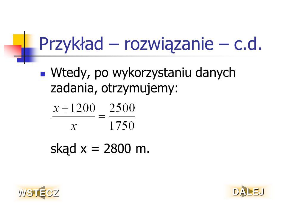 Przykład – rozwiązanie – c.d.