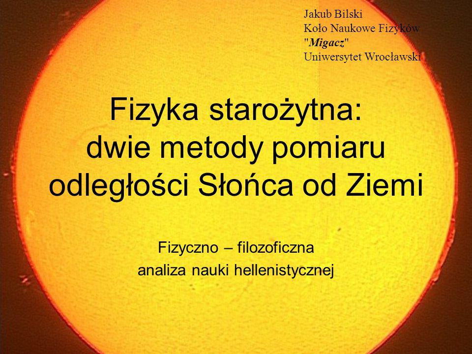 Fizyka starożytna: dwie metody pomiaru odległości Słońca od Ziemi