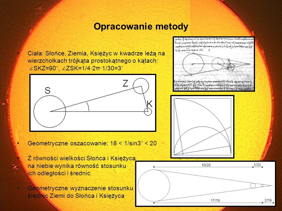 Opracowanie metody Ciała: Słońce, Ziemia, Księżyc w kwadrze leżą na