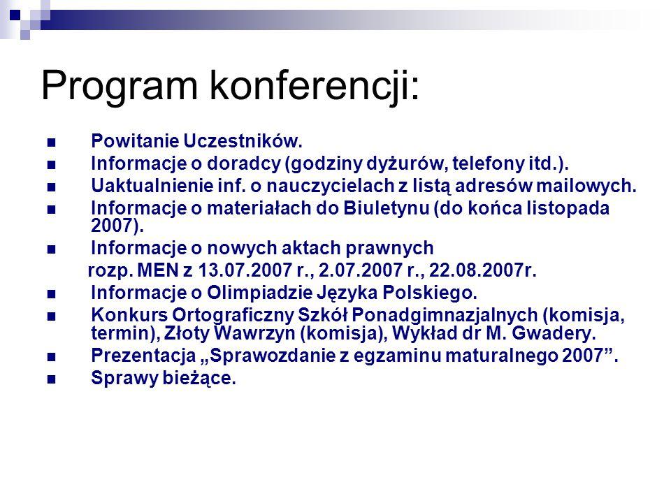 Program konferencji: Powitanie Uczestników.