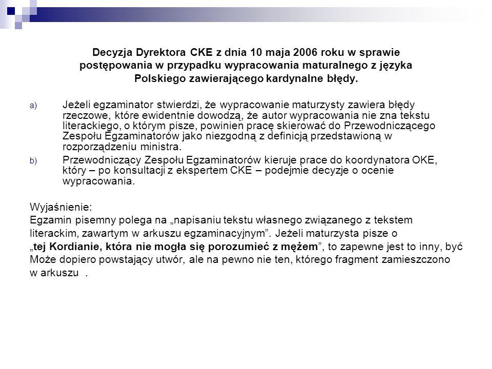 Decyzja Dyrektora CKE z dnia 10 maja 2006 roku w sprawie