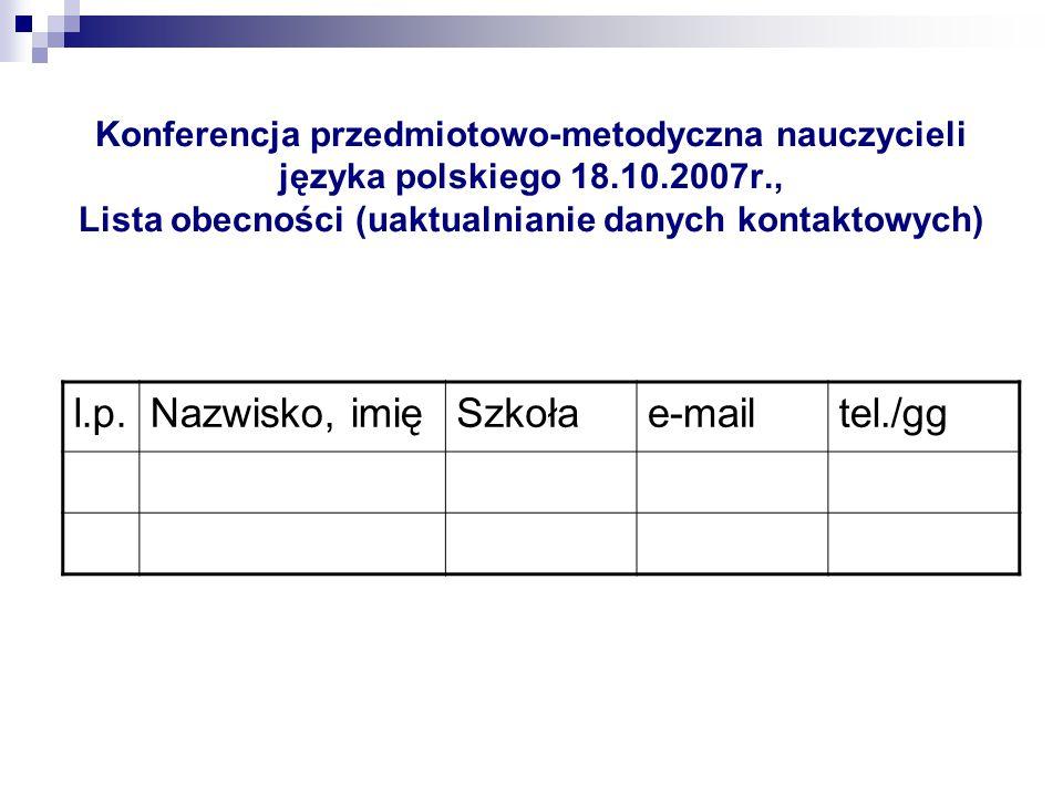 l.p. Nazwisko, imię Szkoła e-mail tel./gg