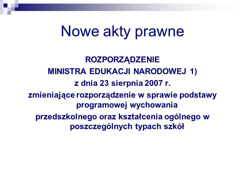 Nowe akty prawne ROZPORZĄDZENIE MINISTRA EDUKACJI NARODOWEJ 1)