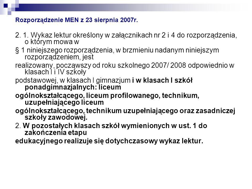 Rozporządzenie MEN z 23 sierpnia 2007r.