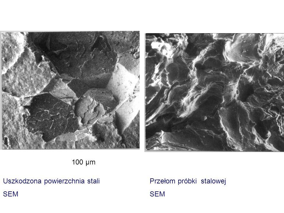 100 μm Uszkodzona powierzchnia stali SEM Przełom próbki stalowej SEM