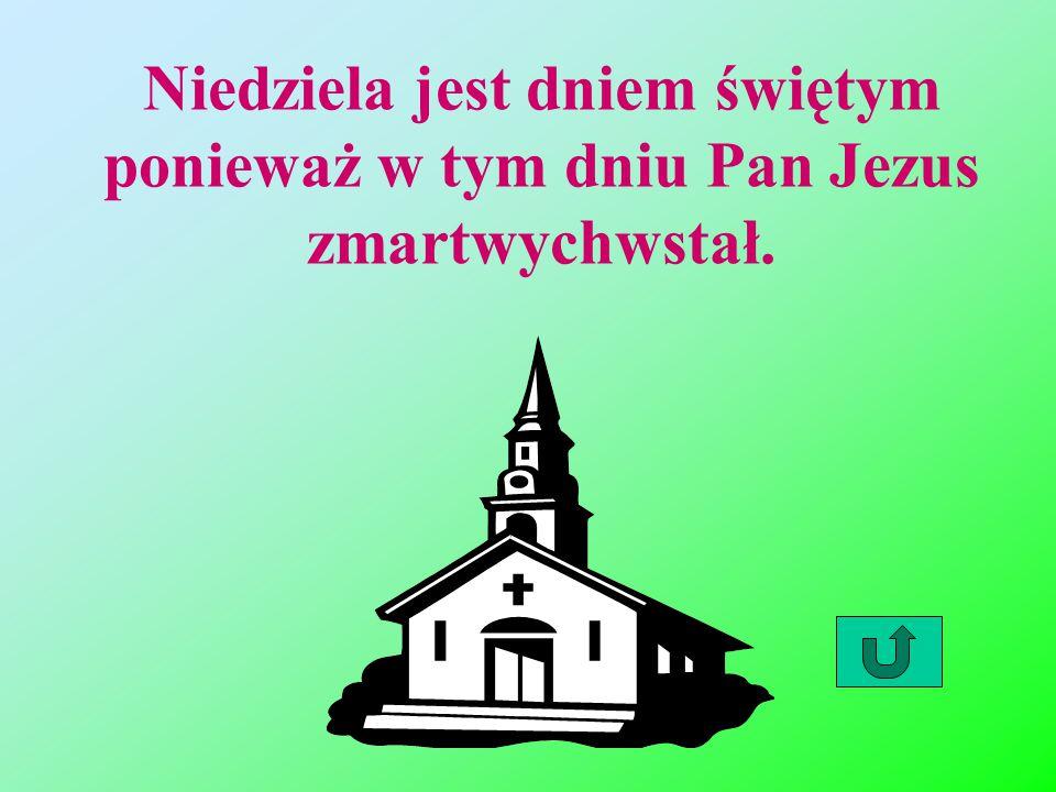 Niedziela jest dniem świętym ponieważ w tym dniu Pan Jezus zmartwychwstał.