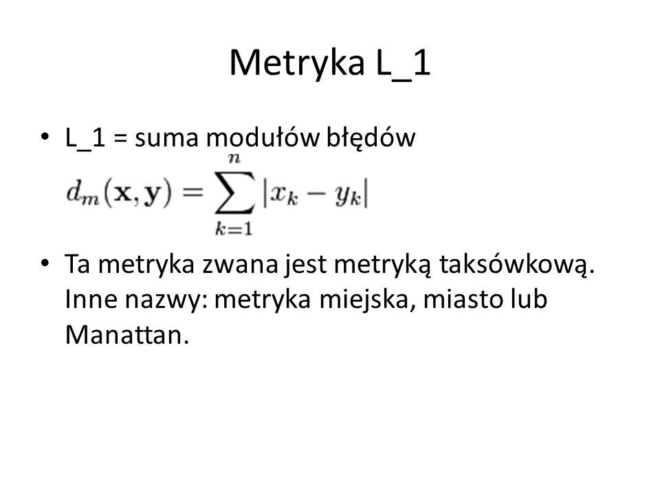Metryka L_1 L_1 = suma modułów błędów