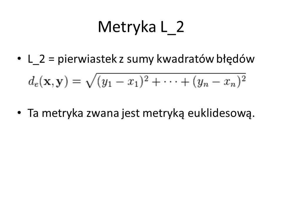Metryka L_2 L_2 = pierwiastek z sumy kwadratów błędów