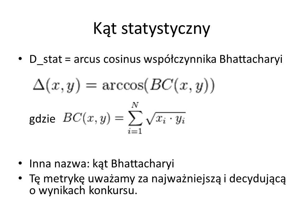 Kąt statystyczny D_stat = arcus cosinus współczynnika Bhattacharyi