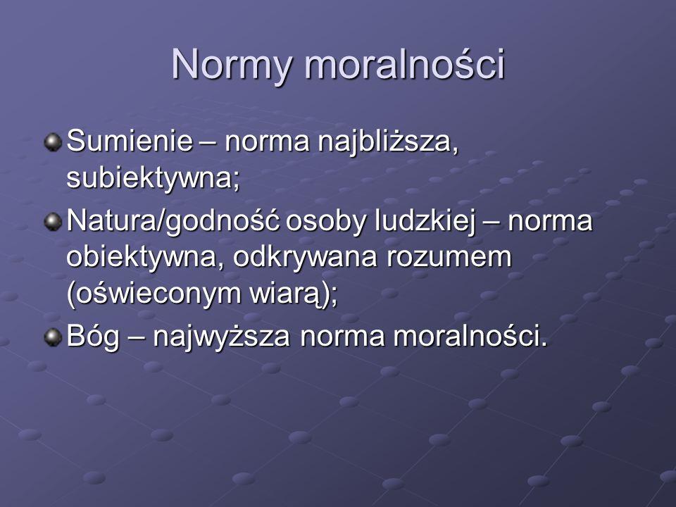 Normy moralności Sumienie – norma najbliższa, subiektywna;