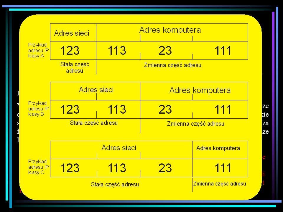 Zasady przydziału IP Klasa adresów IP. początek adresu. liczba możliwych do zaadresowania sieci. liczba możliwych do zaadresowania komputerów.