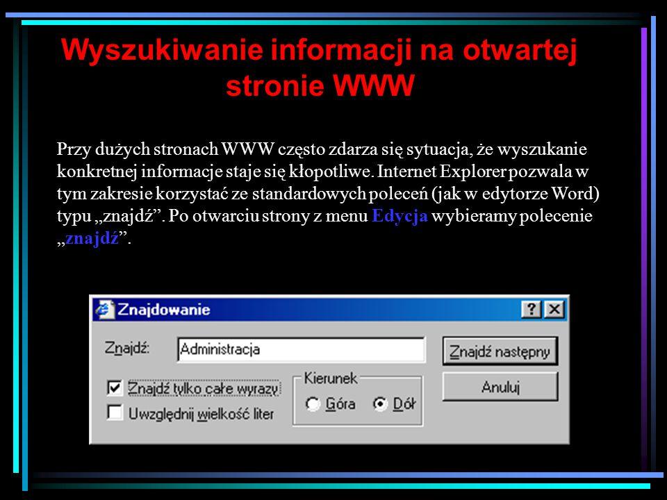 Wyszukiwanie informacji na otwartej stronie WWW