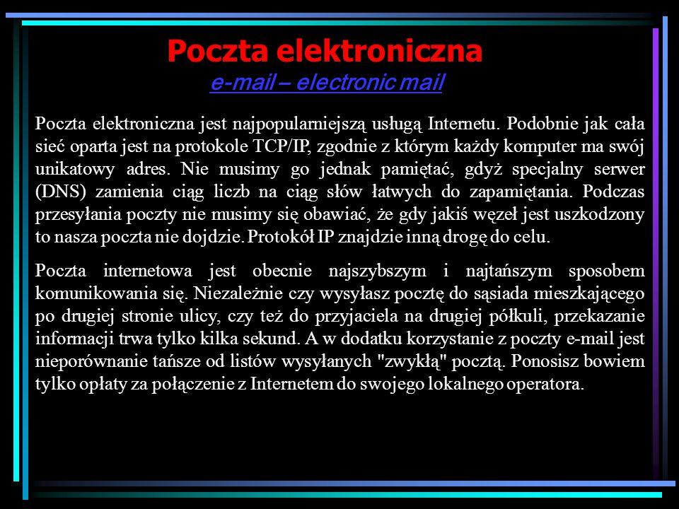 Poczta elektroniczna e-mail – electronic mail