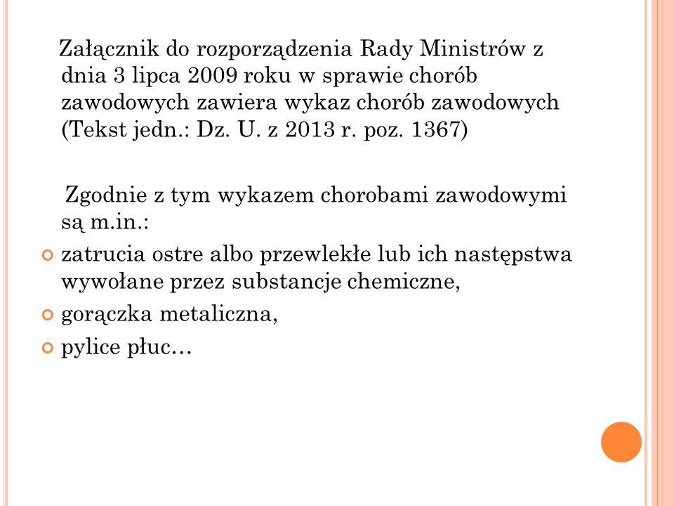 Załącznik do rozporządzenia Rady Ministrów z dnia 3 lipca 2009 roku w sprawie chorób zawodowych zawiera wykaz chorób zawodowych (Tekst jedn.: Dz. U. z 2013 r. poz. 1367)
