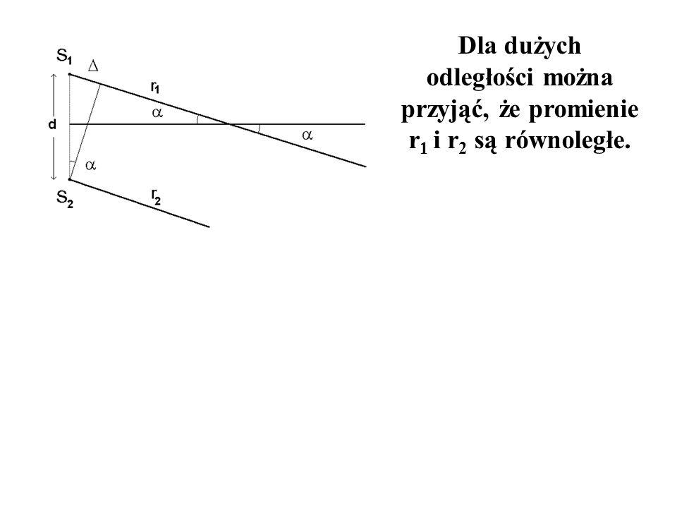 Dla dużych odległości można przyjąć, że promienie r1 i r2 są równoległe.